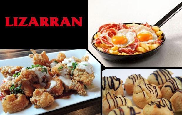Raciones y bebidas en Lizarran Poniente: huevos rotos, rabas y ensalada