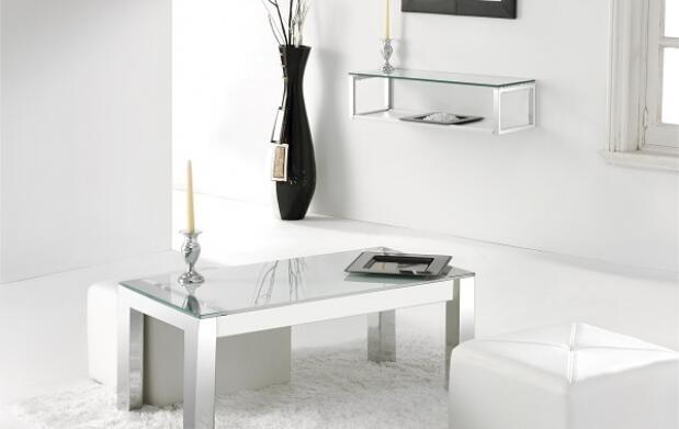 Mesa elevable de cristal y cromo 179€