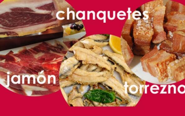 Chanquetes, torrezno, jamón y vino blanco Moscato
