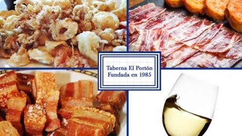 Chopitos, torrezno, jamón y vino blanco Moscato