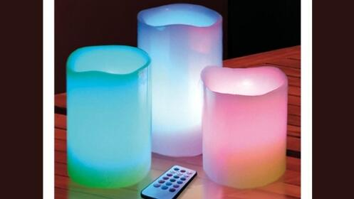 Pack de 3 velas LED multicolor