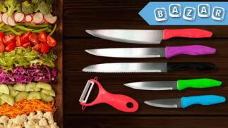 Set de 5 cuchillos multicolor + Pelador