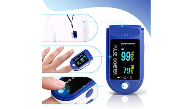 Pulsioxímetro de dedo para la medición de saturación de oxígeno y ritmo cardíaco